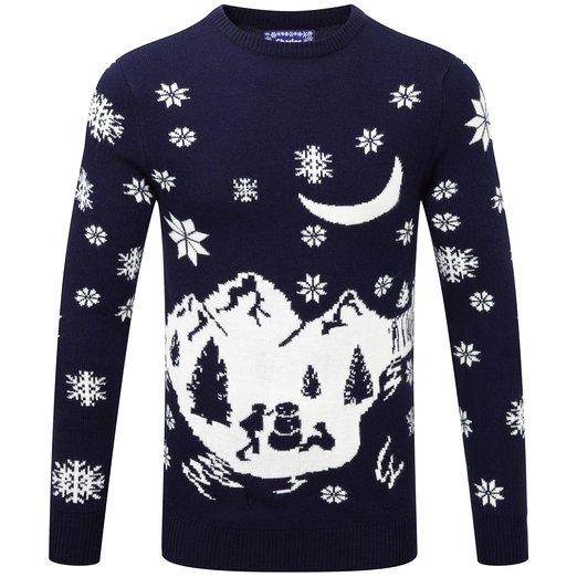 Charlie Wilson Julesweater blå vinterlandskab