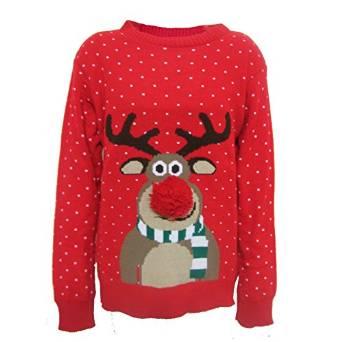 Julesweater med Rudolf i 3D (Navy/Rød) (børn)