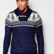 Blå julesweater med krave