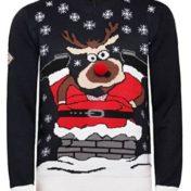 Julemand ned i skorten og rudolf i 3d - Julesweater
