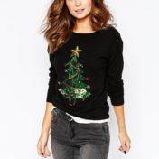 Julesweater med juletræ i palietter