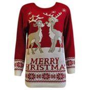 Rød julesweater med kyssende rensdyr