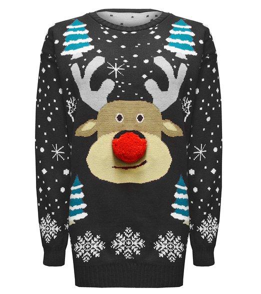 Rudolf med Pompom næse - Lang Julesweater 3d