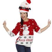 Rød julesweater med snemand